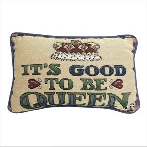 Mary Engelbreit Tapestry Good to be Queen Pillow